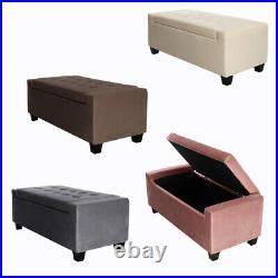Chesterfield VELVET Window Seat Extra Large Storage Box Bench Footstool Ottoman