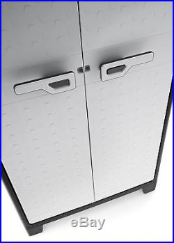 Compact Garden Shed Plastic Large Storage Tool Box Broom Tidy Lockable Cupboard