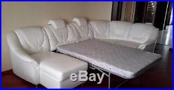Corner sofa white large, folding with storage boxes. Eco-leather