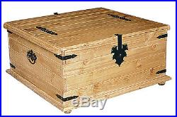 Corona Storage Trunk Wooden Chest Box Large Distressed Light Waxed Solid Pine