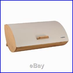 Cream Modern Bread Bin Food Storage Box Loaf Roll Large Kitchen Bamboo Wood Gift