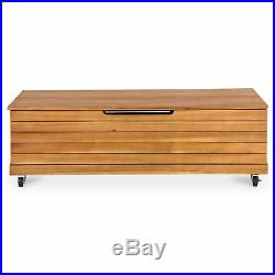 Denia Wooden Garden Storage Box Wood Shed Outdoor Cushion Bench Chest Lid  Stools