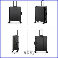 Designer Rolling Makeup Case With LED Bulbs Light UP Cosmetic Storage Box Large