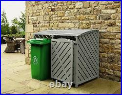 Double Wooden Outdoor Wheelie Rubbish Bin Store Recycling Box Storage Lock Shed