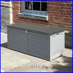 Edmonton 490L PP Storage Box W 2 Gas Lifts Garden Outdoor Seat Grey GF07669
