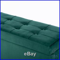 Emerald Green Matte Velvet Large Storage Trunk Ottoman Blanket Box (gb737)