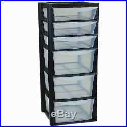 Extra Large 6 Drawer Tower Storage Plastic Draw Home Set Black Made In UK