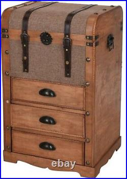 Extra Large Floor Standing Retro Vintage Chest Storage Box With 3 Draws