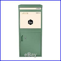 Extra Large Front & Rear Access Green Lockable Home Storage Letter Post Box