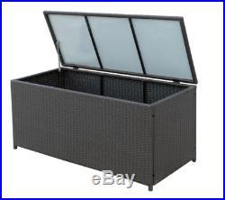 Extra Large Garden Storage Box Rattan Bin Cushion Container Outdoor Deck Patio