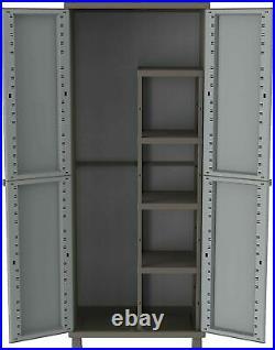 Extra Large Grey Garden Storage Tool Box Cabinet Garage Shed Shelves Rattan