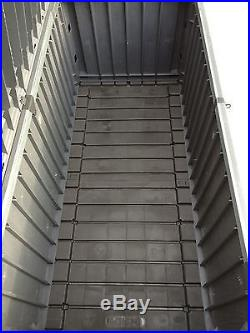 Extra Large Heavy Duty Plastic Garden Storage Box Dark Grey Lid Mechanism Sturdy