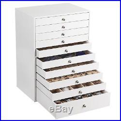 Extra Large Jewellery Box 10 Layer Storage Case Organizer Drawer White Leather