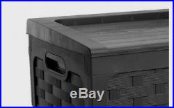 Extra Large Outdoor Garden Storage Container Unit Box Trunk Black Wheeled Chest