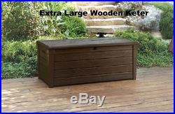 Extra Large Wooden Keter Garden Storage Box Waterproof Bench Seat Outdoor Patio