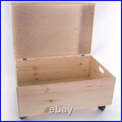 Extra Large Wooden Storage Box With Lid And Handles / Toy Chest Trunk On Wheels