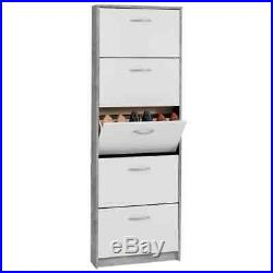 FMD Shoe Cabinet with 5 Tilting Compartments White and Concrete Footwear Unit