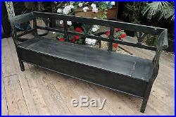 Fab! Large Old Antique Pine/ Black Painted Storage Box Bench/settle-we Deliver