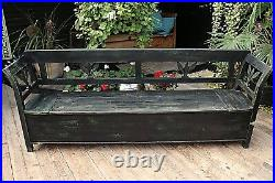 Fab! Large Old Pine/ Painted Black/green Storage Box Bench/settle-we Deliver