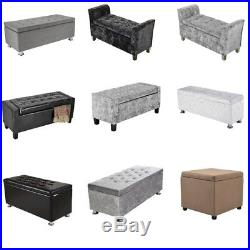 Faux Leather Ottoman Pouffe Large Storage Box Foot Stools Seater BenchSeat Boxes