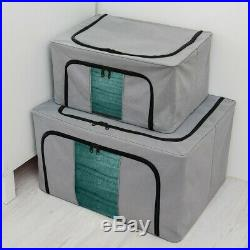Foldable Storage Box 2xClothing Organizer Bags Large Capacity Clear Collapsible