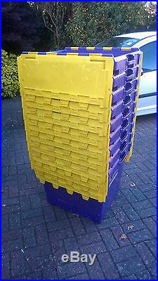 Giant Sturdy Heavy Duty Plastic Large Computer Crates X 8 Folding LID 60x 50 X60