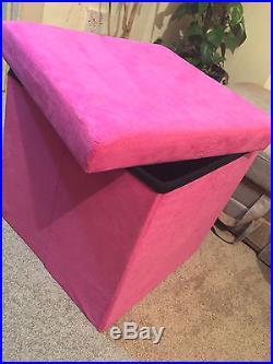 GIRLS Large Folding Storage PINK Suede Pouffe Single Seat Stool STORAGE Box