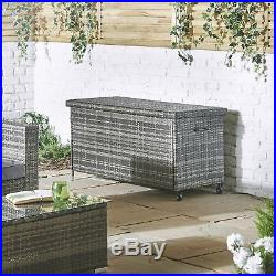 Garden Cushion Storage Box Rattan Trunk Solid Large Ottoman Bistro Patio Grey
