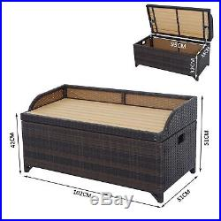 Garden Rattan Storage Box Bench Seat 2 Seater Waterproof