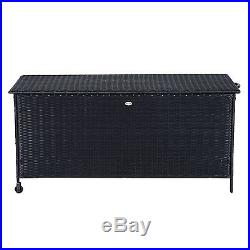 Garden Rattan Storage Cushion Box Outdoor Chest Patio Cabinet Wheels Lid Black