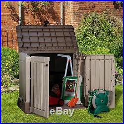 Garden Storage Box Outdoor Patio Utility Shed Plastic Tools Container Chest Unit