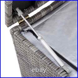 Garden Storage Box Outdoor Utility Cushion Chest Large Trunk Poly Rattan Grey UK