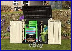 Garden Storage Box Wood Effect Outdoor Store large Furniture Cupboard Bike