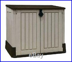 Gardens Storage Shed Bin Box Extra Large Container Bikes Lawn Mower Beige