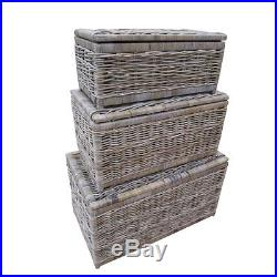 Grey & Buff Rattan Wicker Storage Trunk Chest Basket Box Blanket Toy Laundry Lid