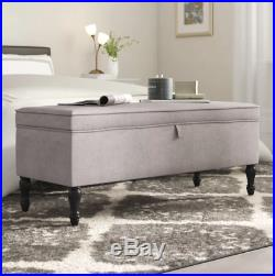 Grey Fabric Storage Ottoman Brown Wooden Legs Large Pouffe Blanket Box Chest