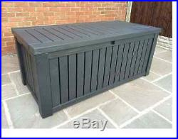 Grey Keter Extra Large Garden Plastic Outdoor Storage Box Chest Cupboard Tools