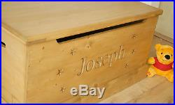 Handmade Wooden Children's Toy Box Carved Personalised Storage Chest/Seat NEW