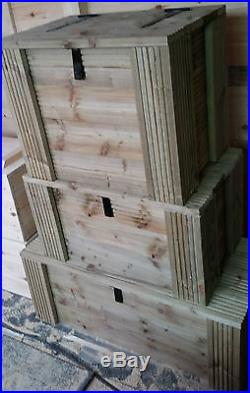 Handmade treated wooden outdoor garden patio storage chest box xxl tanalised