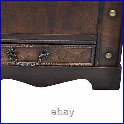 Home Large Wooden Colonial Treasure Chest Box Storage Trunk Vintage Brown U0Z0