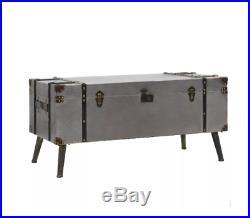 Industrial Coffee Table Large Vintage Blanket Metal Storage Box Old Trunk Chest