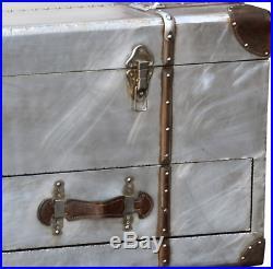 Industrial Coffee Table Metal Storage Trunk Large Vintage Chest Box Old Blanket