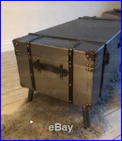 Industrial Coffee Table Metal Vintage Blanket Large Storage Box Old Trunk Chest