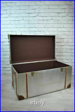Industrial Storage Trunks Silver Metal Brown Trim Detail Toy Chest Box S M or L
