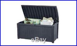 Keter Borneo Rattan Garden Storage Box Chest Plastic Large Lockable Outdoor New