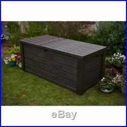 Keter Eastwood Extra Large Garden Storage Box, Deck Patio Furniture 570L Brown