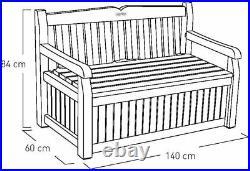 Keter Eden Bench Outdoor Storage Box Garden Furniture, Graphite and Grey, 132.5L