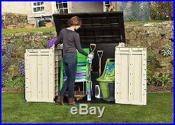 Keter Large Garden Storage Box Plastic Outdoor Wheelie Bin Bike Shed Tool Store