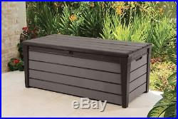 Keter Large Outdoor Garden Patio Storage Container Utility Chest Brown Box New