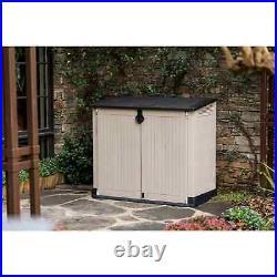 Keter Large Outdoor Plastic Bin Garden Storage Shed Midi Beige Brown 880L NEW